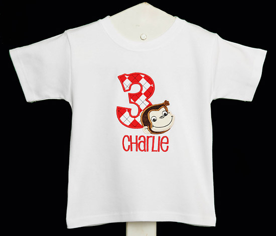 Curious George Birthday Shirt or Onesie, Custom, Any Age