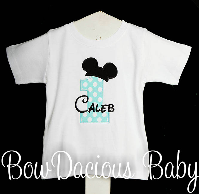 Birthday Baby Mickey Shirt Disney Applique, Custom, Any Age, You Pick the Colors, Shirt or Onesie