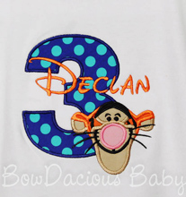 Tigger Birthday Boy's T-shirt, Onesie, or Bodysuit, Custom, Any Age, You Pick the Fabrics and Font
