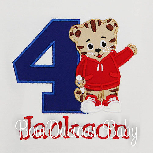 Daniel the Tiger Birthday Shirt, Custom, Appliqued, Any Age