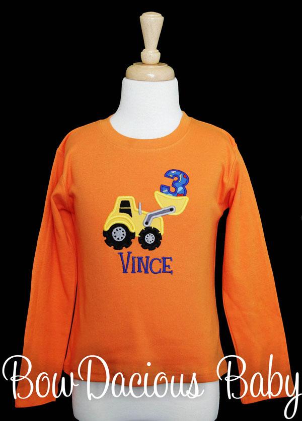 Boys Loader Birthday Shirt, Custom Loader Birthday Shirt, Personalized, Any Age, Any Colors