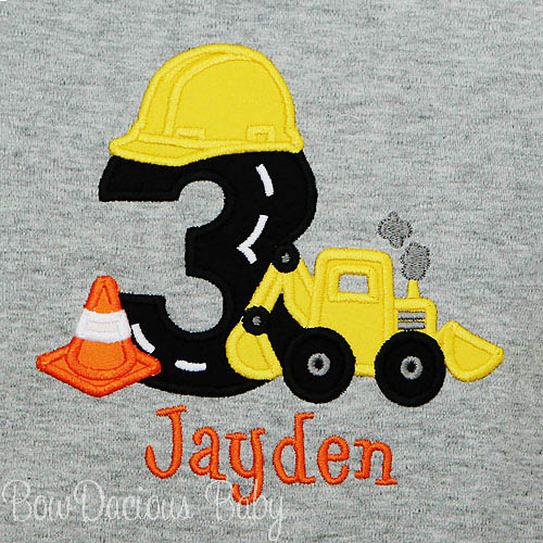 Construction Birthday Shirt, Digger Shirt, Contruction Party, Boy Birthday Shirt, Road Number with Hard Hat and Cone, Custom, Any Age