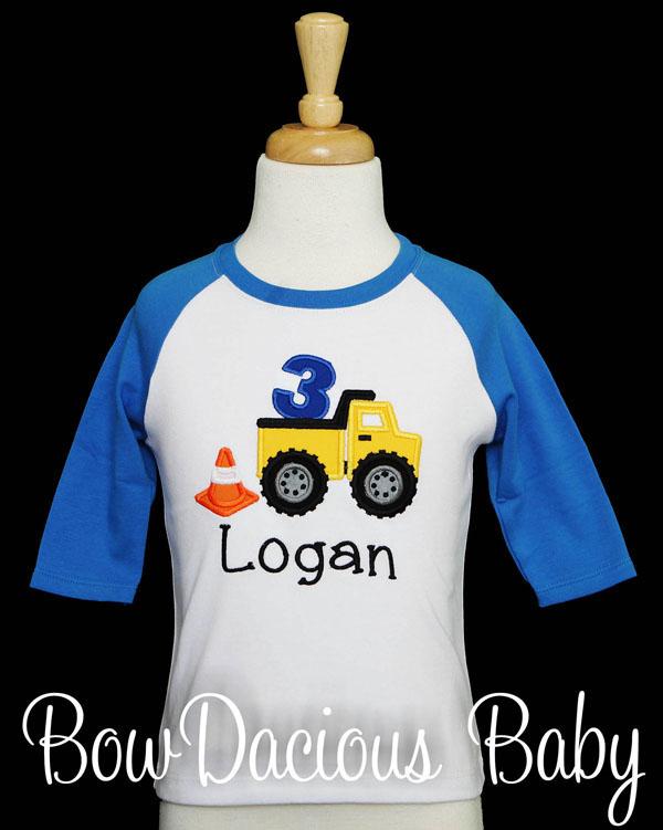 Custom Dump Truck Birthday Shirt, Personalized Dump Truck Birthday Shirt, Any Age, Any Colors