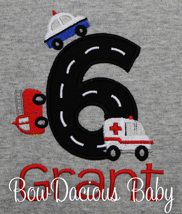 Boys Personalized Emergency Responders Birthday Shirt, Custom, Any Age