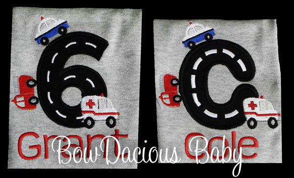 Rescue Vehicles Birthday Shirt and Sibling Shirt, Custom, Personalized