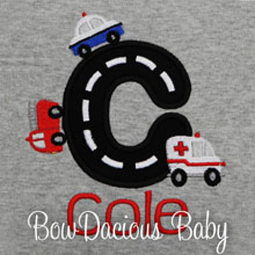Boys Personalized Rescue Vehicles Shirt, Custom, Any Initial, Any Colors