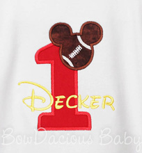 Football Mickey Mouse Birthday Shirt or Onesie