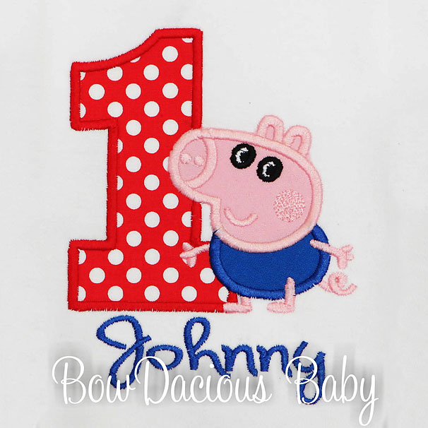 Peppa the Pig George Birthday Shirt or Bodysuit, Custom, Personalized, Any Age