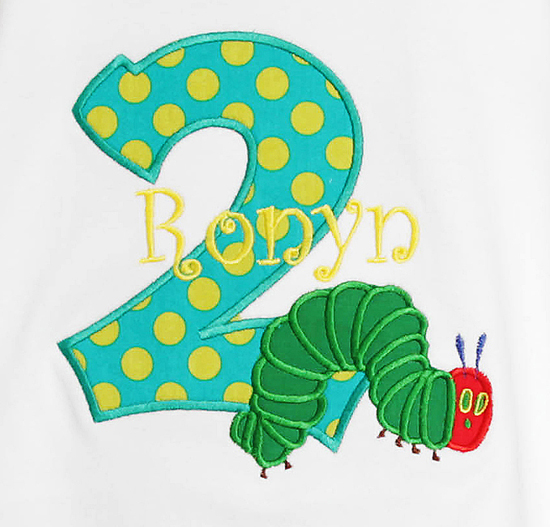 The Very Hungry Caterpillar Birthday Shirt, Boy Birthday Shirt or Onesie, Custom Age, Any Colors