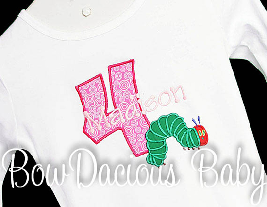 The VERY Hungry Caterpillar Birthday Shirt FREE Personalization Girls or Boys, Custom