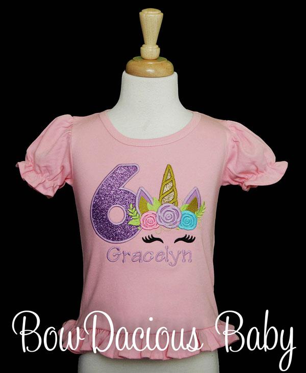 Unicorn Birthday Shirt, Unicorn Shirt, Custom, Any Age, Any Colors
