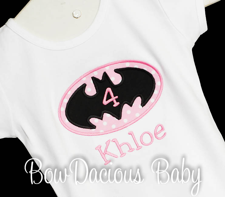 Personalized Batman Birthday Shirts for Girls, Any Age, Custom Colors