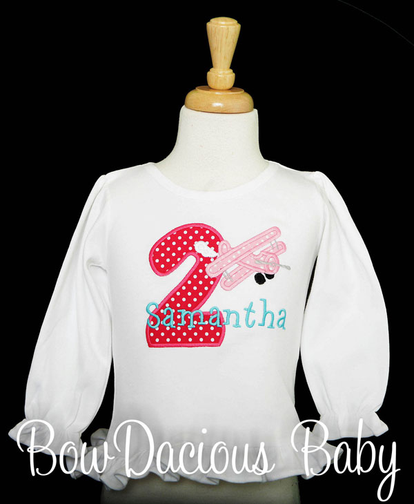Girls Airplane Birthday Shirt, Biplane Birthday Shirt, Custom, Any Age and Colors