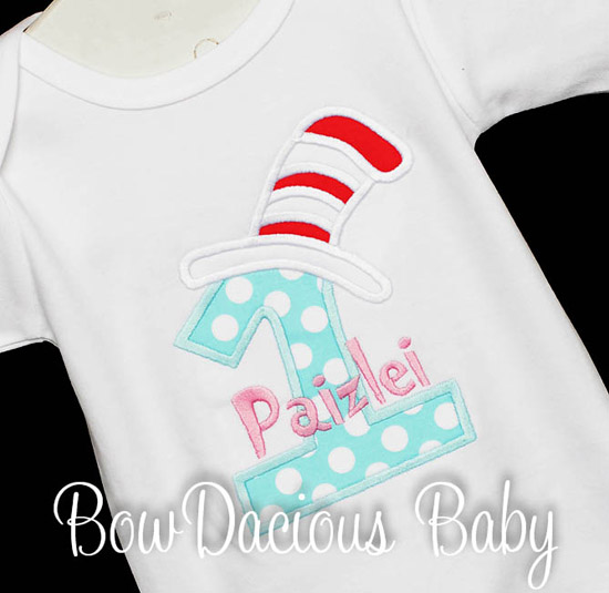Dr. Seuss Birthday Shirt, Dress, or Onesie, Cat in the Hat, Seuss Birthday Shirt, Custom