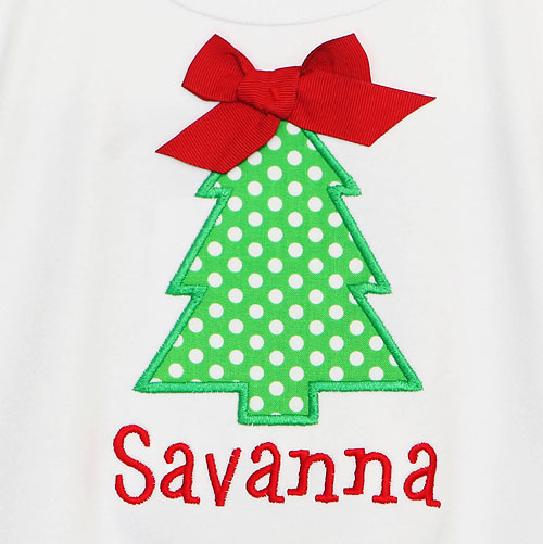 Christmas Dress, Girls Christmas Tree Dress, Custom, Personalized