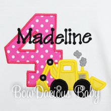 Construction Birthday Shirt Add Name and Age, Construction Theme Girls's Fourth Birthday, Any Age and Colors