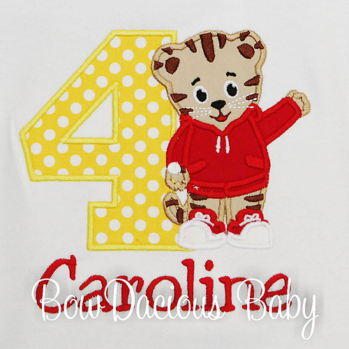 Girls Daniel the Tiger Birthday Shirt, Custom, Any Age
