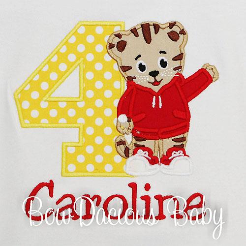 Girls Daniel the Tiger Birthday Shirt, Custom, Any Age