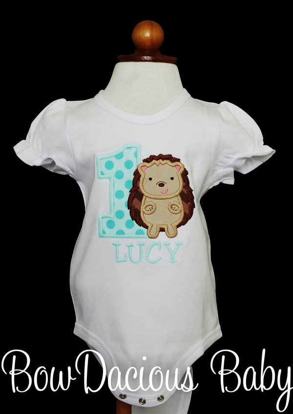 Girls Hedgehog Birthday Shirt or Onesie, Custom, ANY AGE, ANY COLORS