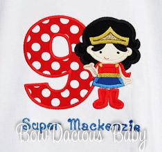 Supergirl Birthday Shirt or One Piece Bodysuit, Wonder Woman Birthday Shirt, Superhero Birthday Shirt