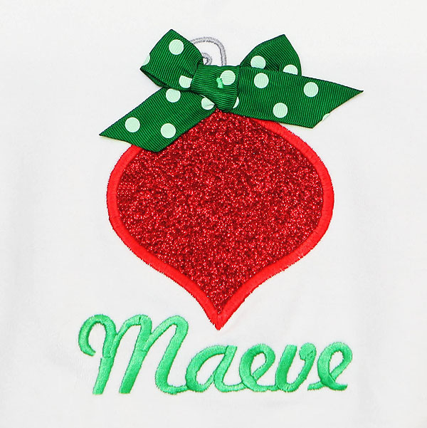 Girls Personalized Christmas Shirt Glitter Ornament, Christmas Ornament Shirt, Custom