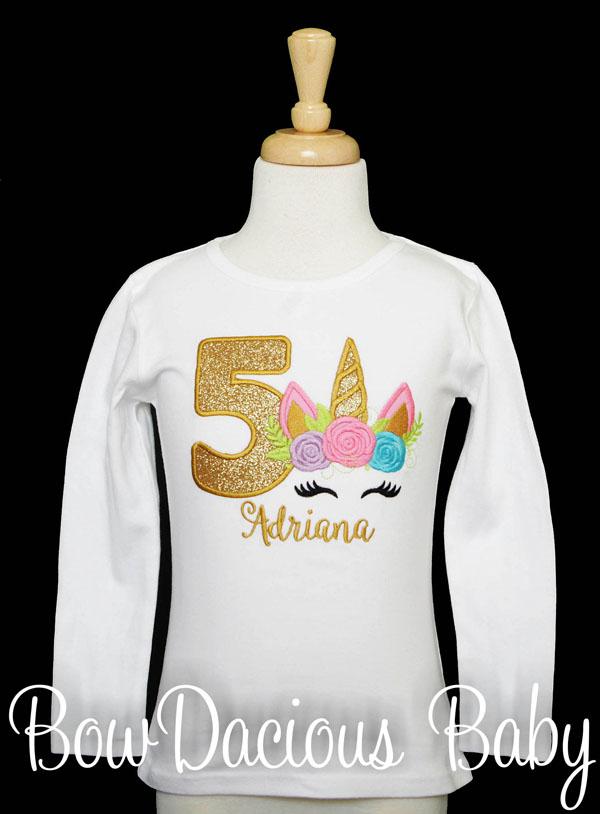 Five Unicorn Birthday, Birthday Kid Shirt, Birthday Shirts For Girls, 5th Birthday Outfit, 5 Birthday Shirt, 5 Year Old Birthday Girl, CUSTOM