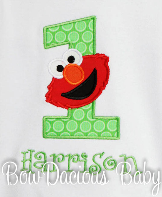 Green Elmo Birthday Shirt or Onesie, Custom