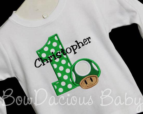 Mario Brothers 1-UP Birthday Shirt