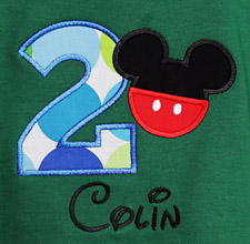 Green Mickey Mouse Birthday Shirt or Onesie, Custom, Any Age