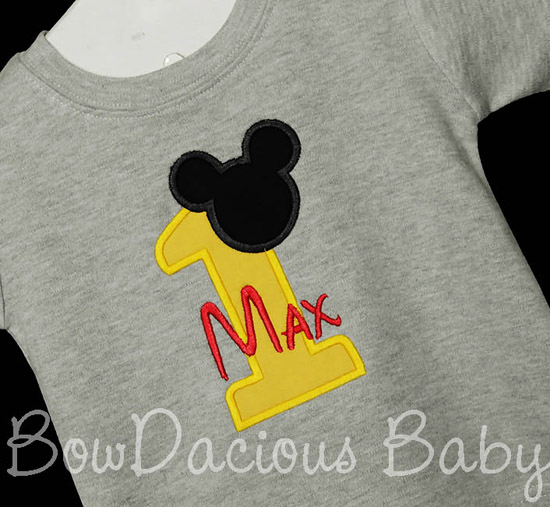 Personalized Mickey Mouse Birthday Shirt 1st 2nd 3rd Applique Customized Embroidered Name Disney