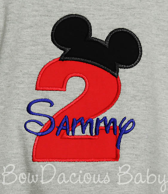 Birthday Mickey Ears Red Number Shirt Disney Applique, Shirt or Onesie, Custom, Any Age
