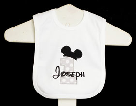 Mickey Mouse Birthday Bib, Custom, You Pick the Fabrics, Any Color Scheme