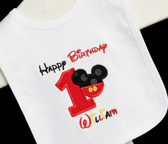 Happy Birthday Mickey Bib, Custom