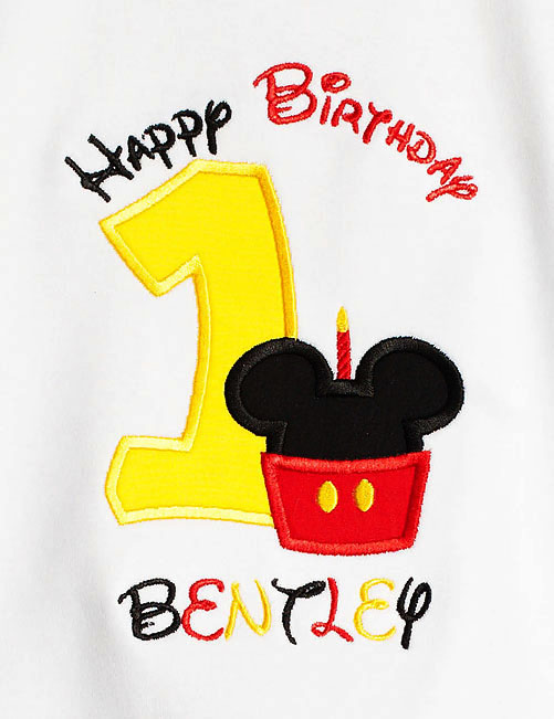 Mickey Minnie Mouse Cupcake Birthday Shirt Custom Embroidered Applique Cupcake Monogram Monogrammed 1st First 2nd 1 2 3