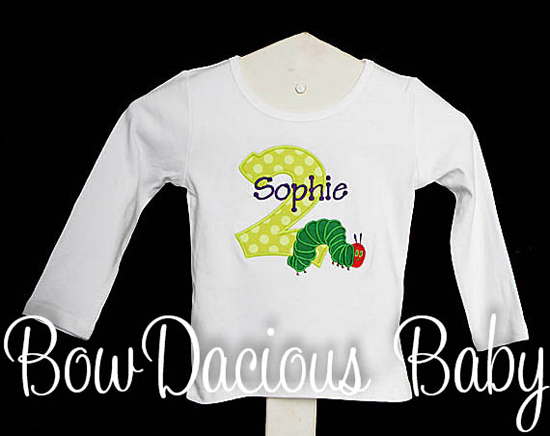 Monogrammed Very Hungry Caterpillar Appliqué Shirt or Onesie, Birthday, Eric Carle, Personalized, Monogram, Matching Bow, Boy, Girl