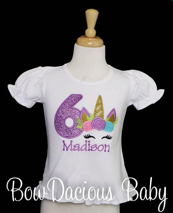 Rainbow Unicorn Birthday Shirt, Custom, Any Age/Colors