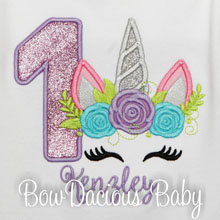 Girl's Silver Unicorn Birthday Shirt, Birthday Girl, Personalized, Unicorn Party, Any Age/Colors