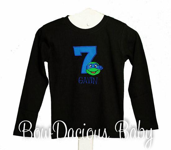 Ninja Turtle Mongorammed and Applique Birthday Shirt, Custom, Any Age