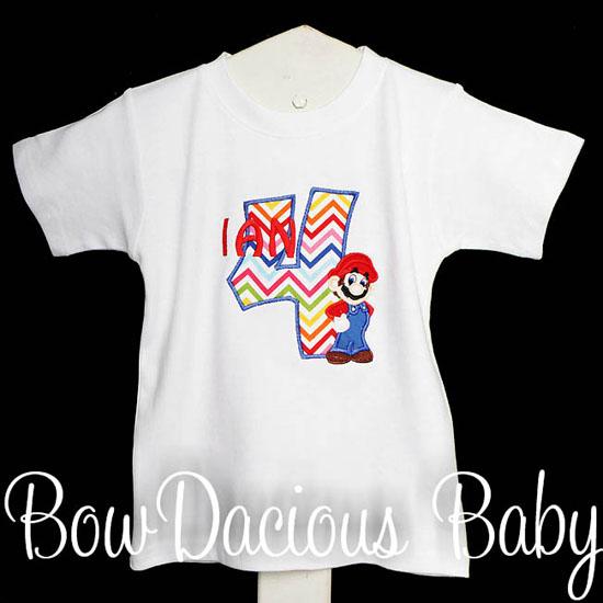 Mario Brothers Birthday Number Shirt or Onesie, Custom