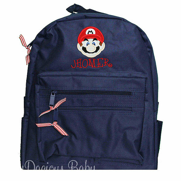 Mario Brothers Backpack, Personalized Back To School Gift for Kids, Embroidered Children's Book Bag, Custom