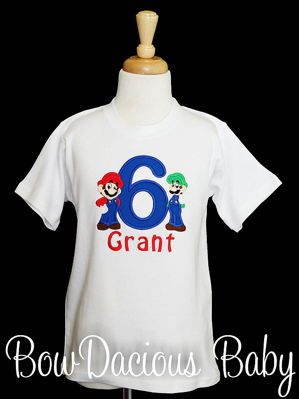 Embroidered Mario and Luigi Birthday Shirt, Custom, Any Age, Any Colors