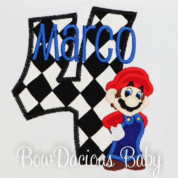 Mario Kart Birthday Shirt or Onesie, Custom, Any Age/Colors