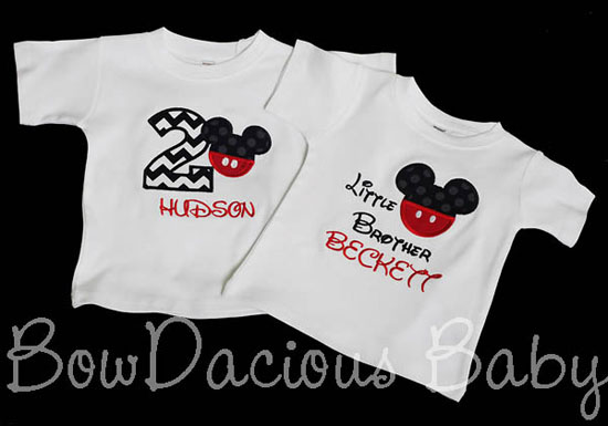 Mickey Mouse Birthday Shirt And Sibling Custom You Pick Fabrics Font