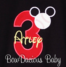 Custom Baseball Mickey Mouse Birthday Shirt or Onesie