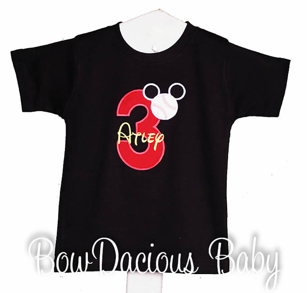 Custom Baseball Mickey Mouse Birthday Shirt or Onesie