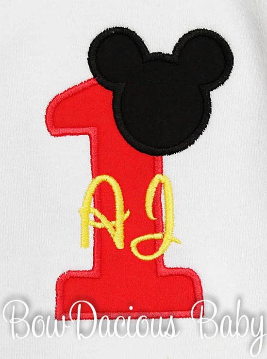 Mickey Mouse Birthday Bib- Birthday Age Appliqued