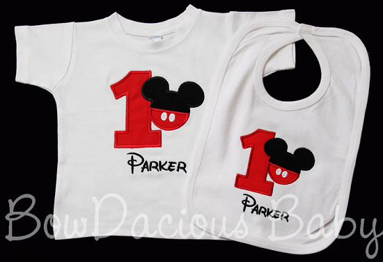Custom Mickey Mouse Birthday Shirt And Bib Any Color Scheme