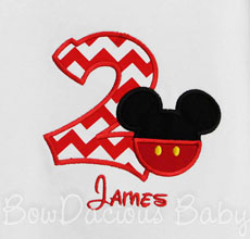 Boys Custom Mickey Mouse Birthday Shirt