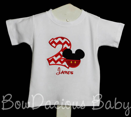 Boys Custom Mickey Mouse Birthday Shirt