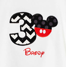 Mickey 3rd Birthday Shirt, You Pick the Fabrics